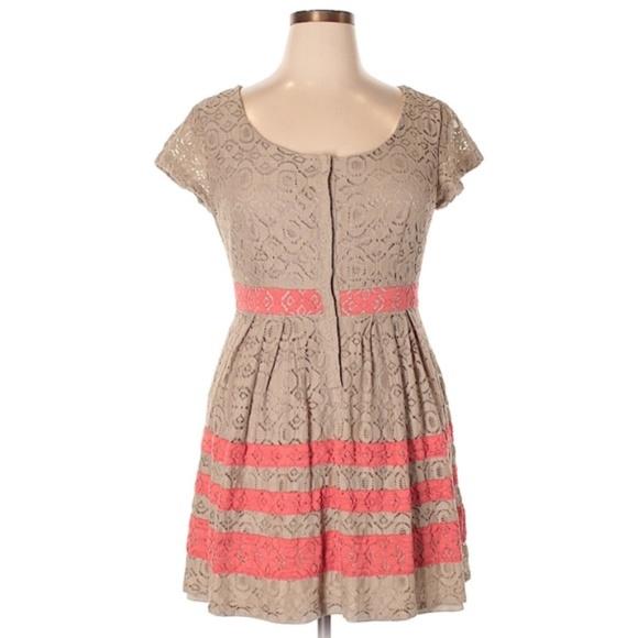 fe0b7a15a63 LC Lauren Conrad nude lace stripe dress